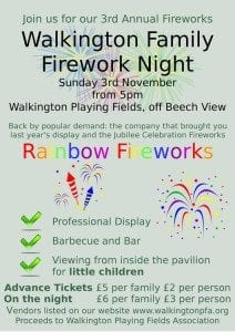 Fireworks at Walkington Playing Fields